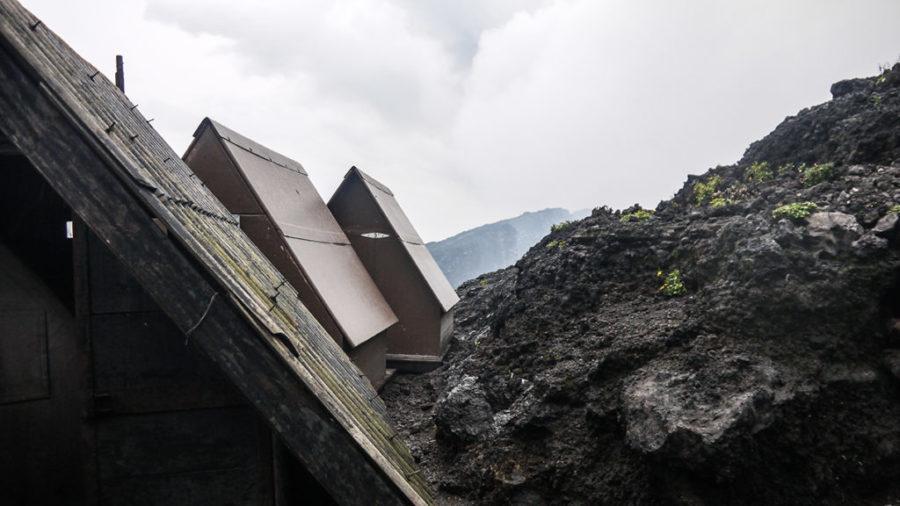 The huts at the summit of Congo's infamous volcano, a great place to rest after trekking Mount Nyiragongo Volcano!