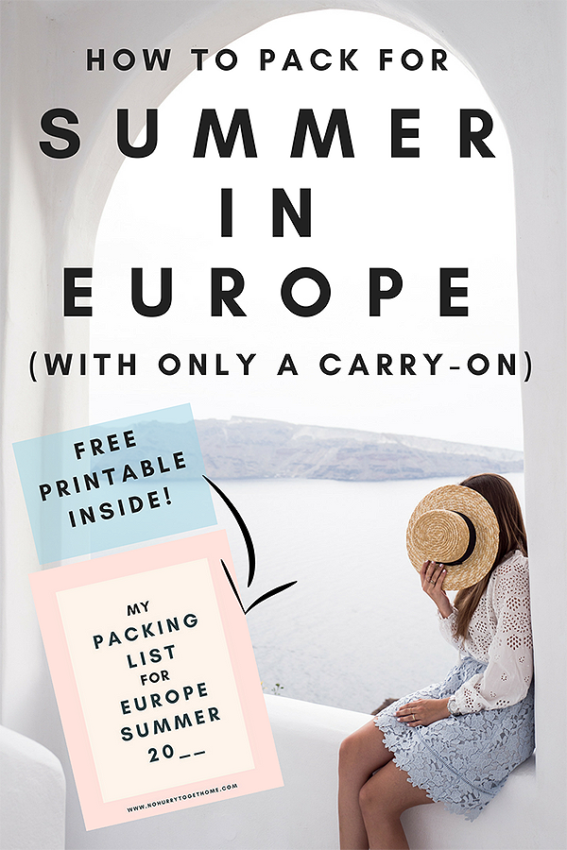 How to pack for a summer trip to #Europe inside a carry-on / Packing for a trip to Europe in the summer / Women's packing guide to Europe / How to pack a #capsulewardrobe #packinghacks #packingforeurope #eurotrip #summer #wanderlust #travelhacks #traveltips #packingguide #holiday