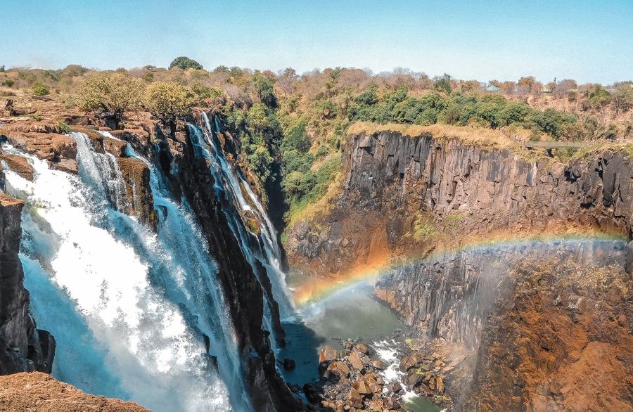 Cascades falling to the Zambezi River to Victoria Falls
