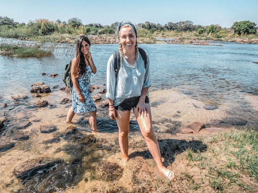 Walking to Angels Pool, a cheap alternative in Zambia to the Devil's Pool