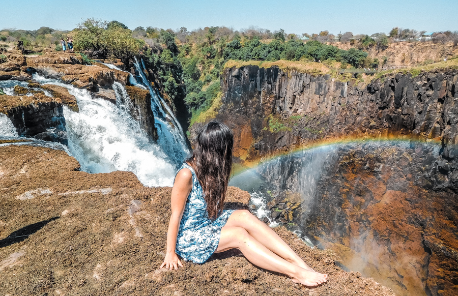 Overlooking the Zambezi river from atop Victoria Falls in Zambia