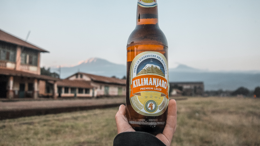 Fun things to do in Moshi: Drink a beer in front of Mount Kilimanjaro at the old Railway station in town