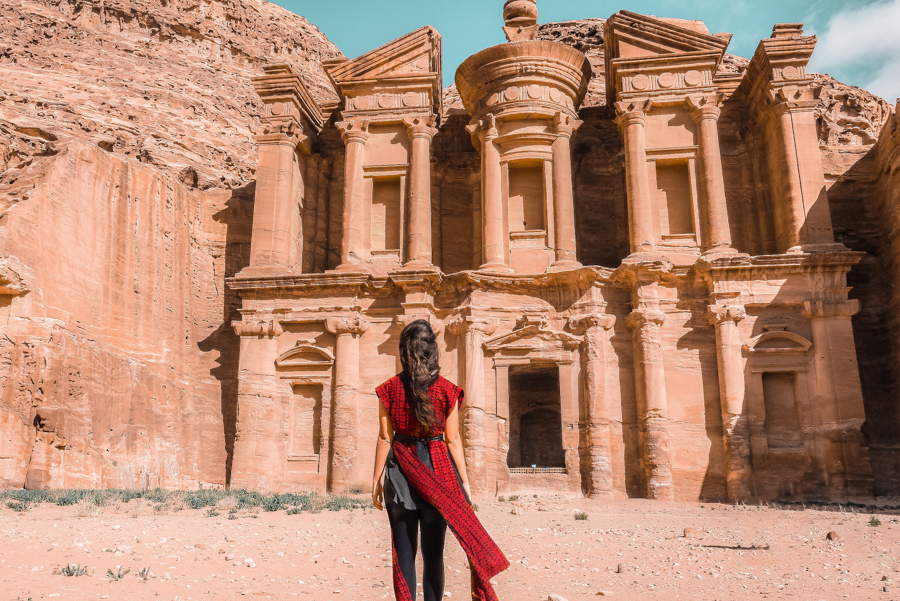 Standing in front of the Monastery in Petra in Jordan, one of the landmarks you'll get to see when you visit Petra in a day
