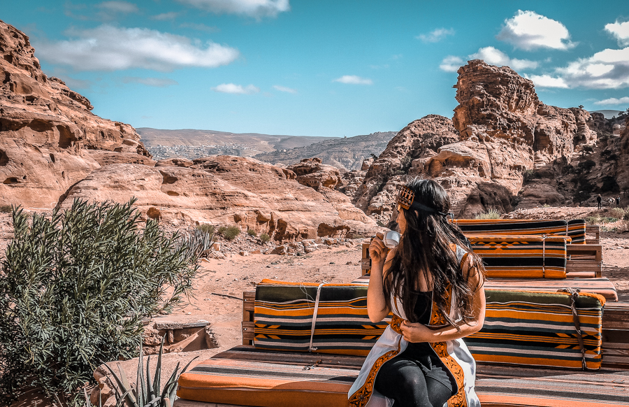 Petra in a day: Drinking tea in a Bedouin restaurant across the Monastery