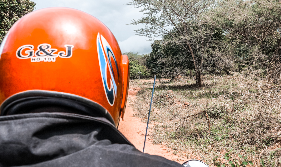 Getting to Ziwa Rhino on a budget involves a bumpy motorcycle ride