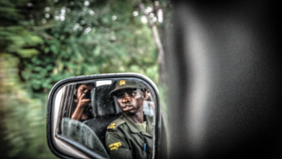 In the car with a ranger during my visit to Ziwa Rhino sanctuary in Uganda