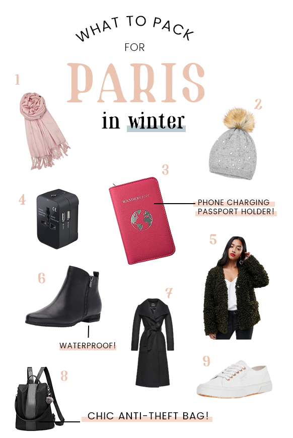 Wondering what to wear in Paris in the winter? Here are a few suggestions along with a list of essentials to bring along when packing for a winter trip to Paris in December, January, or February!