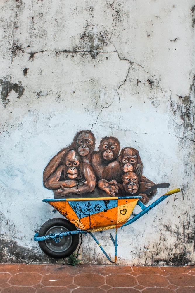 Orangutan Murals in Kuching, Sarawak, Borneo