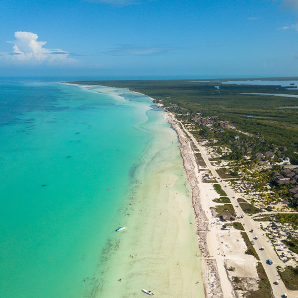 Aerial views of Isla Holbox in Mexico