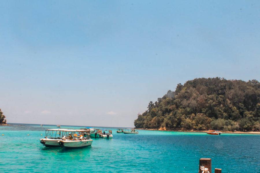 Gaya Island in Tunku Abdul Rahman Marine Park near Kota Kinabalu. Gaya is the largest of Kota Kinabalu's islands with lots of beaches, resorts, and hiking trails