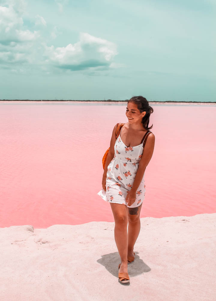 One of the best instagram spots in Mexico are las Coloradas, a set of pink lakes in the Yucatan Peninsula that look out of this world!