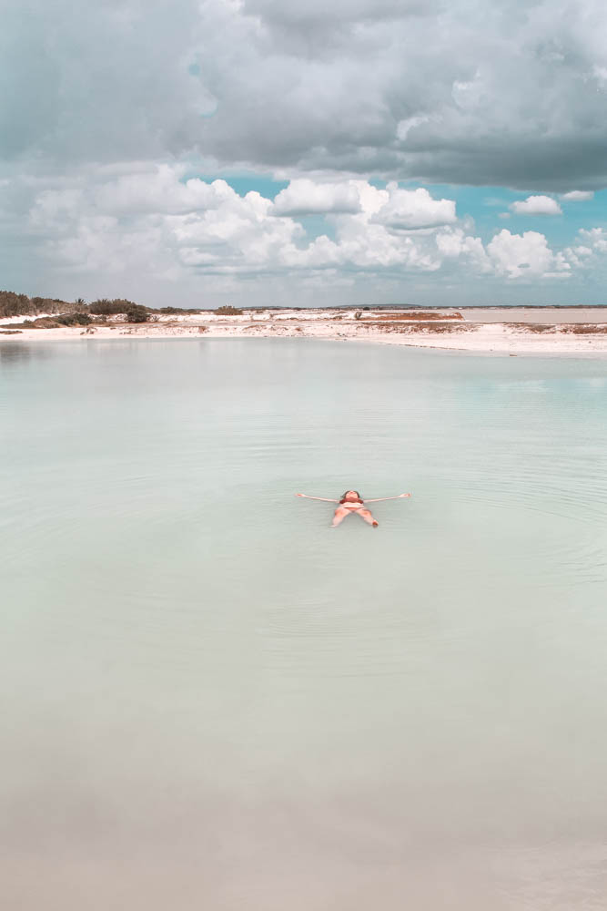 Swimming at Las Coloradas - while swimming in the pink lake isn't allowed, there's a turqouise lagoon where visitors can!