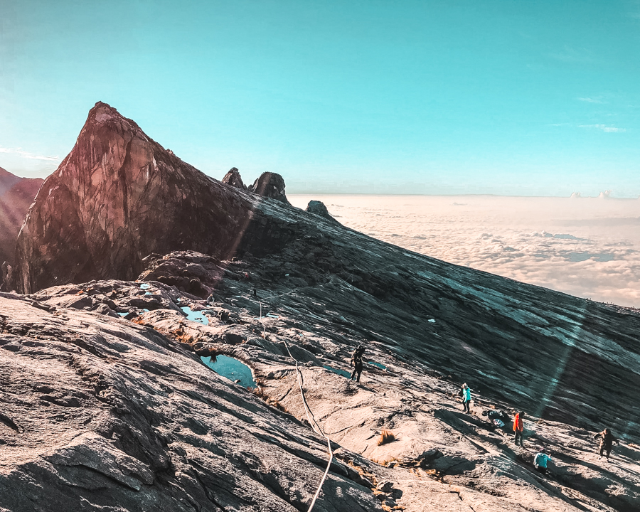 The peak of Mount Kinabalu, the higest mountain in Southeast Asia