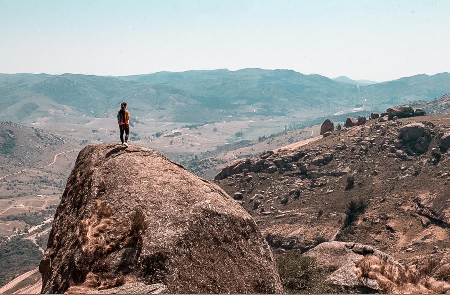 At the peak of Sibebe Rock, the most important natural landmark of Swaziland