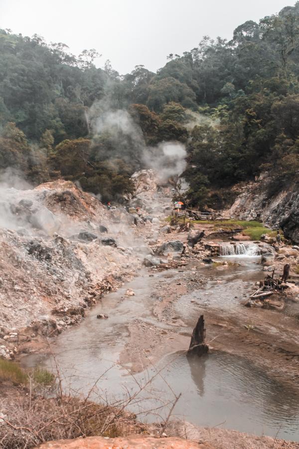 Kawah Rengganis, a set of natural hot springs on a volcano in Bandung