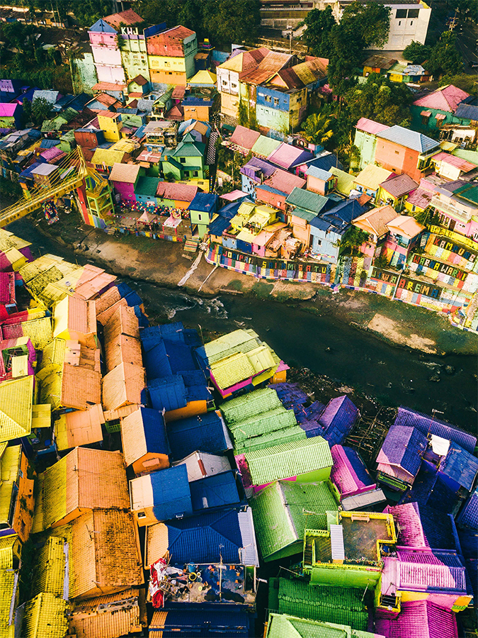 Jodipan, the Rainbow Village in Malang, Java, Indonesia
