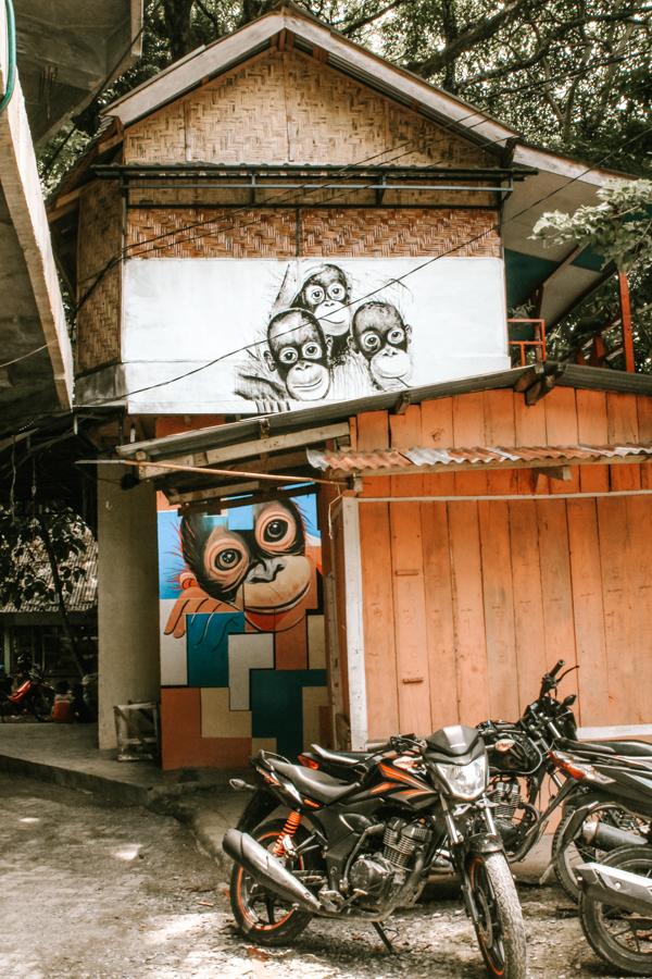 The center of Bukit Lawang and orangutan its wall art