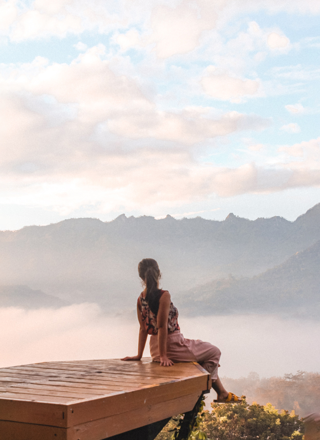 Overlooking the volcanoes in Yoygakarta in Java, Indonesia